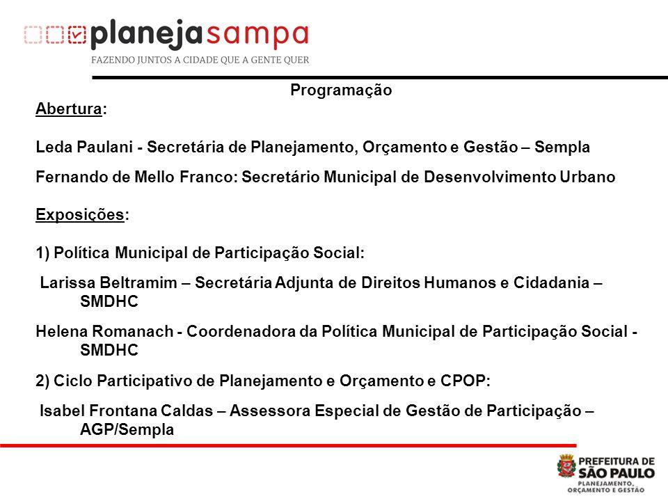 Programação Abertura: Leda Paulani - Secretária de Planejamento, Orçamento e Gestão – Sempla.