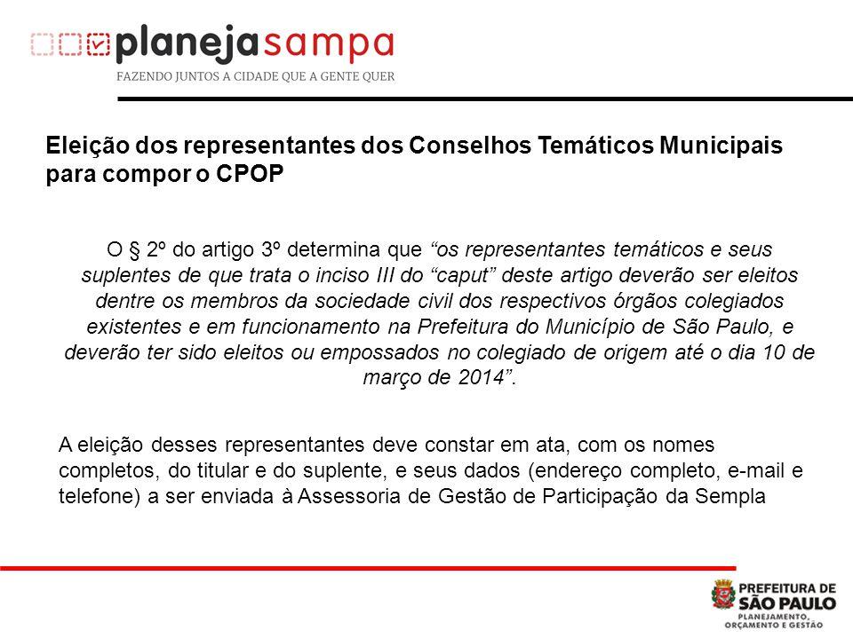 Eleição dos representantes dos Conselhos Temáticos Municipais para compor o CPOP
