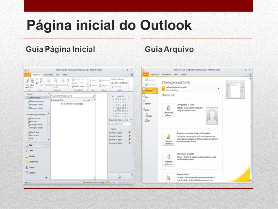 Página inicial do Outlook