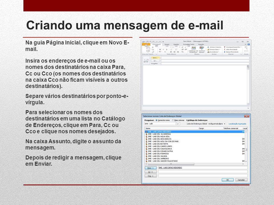 Criando uma mensagem de e-mail