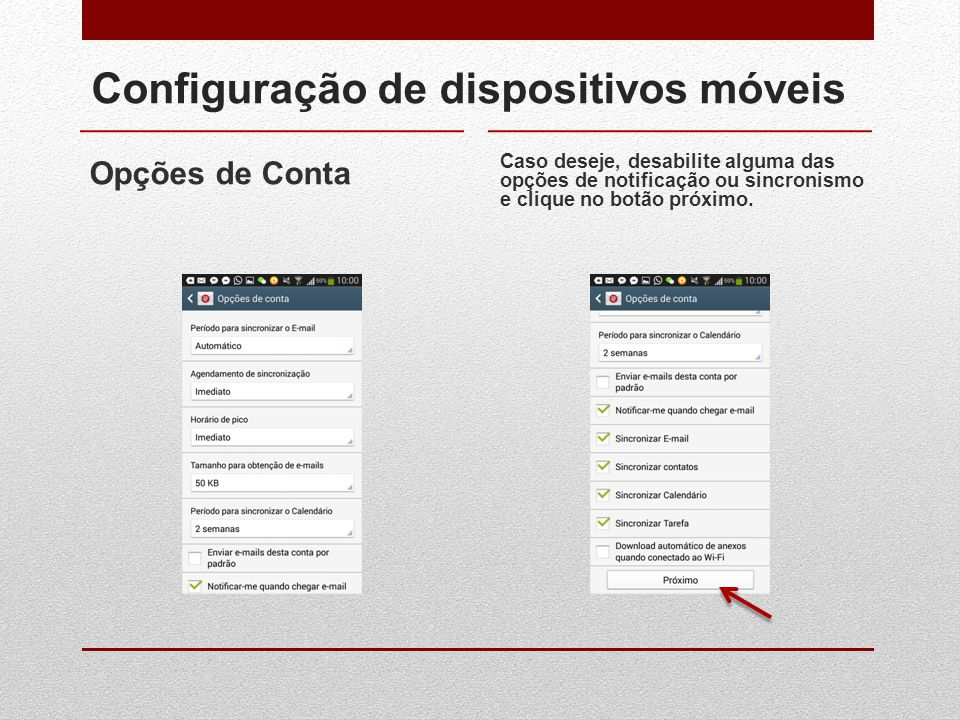 Configuração de dispositivos móveis