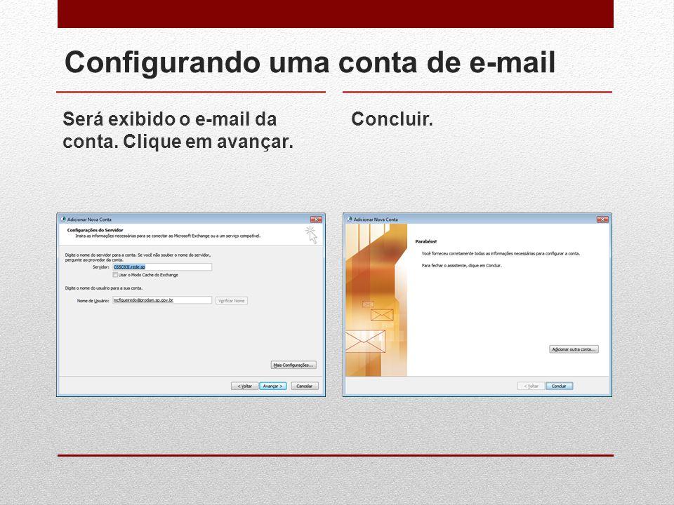 Configurando uma conta de e-mail