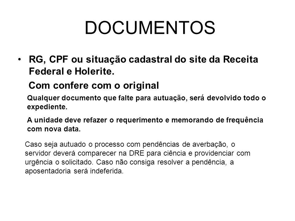 DOCUMENTOS RG, CPF ou situação cadastral do site da Receita Federal e Holerite. Com confere com o original.