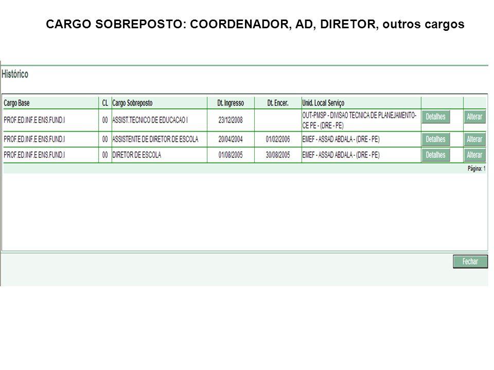 CARGO SOBREPOSTO: COORDENADOR, AD, DIRETOR, outros cargos