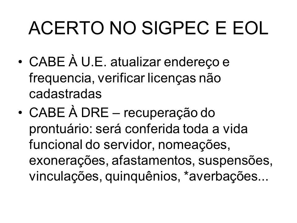 ACERTO NO SIGPEC E EOL CABE À U.E. atualizar endereço e frequencia, verificar licenças não cadastradas.