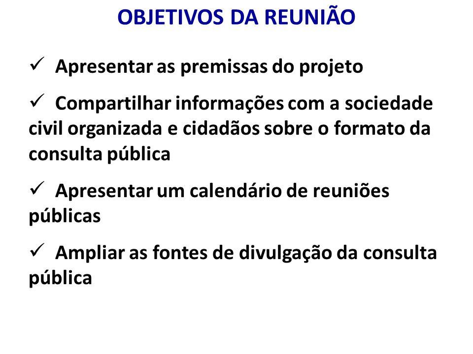 OBJETIVOS DA REUNIÃO Apresentar as premissas do projeto