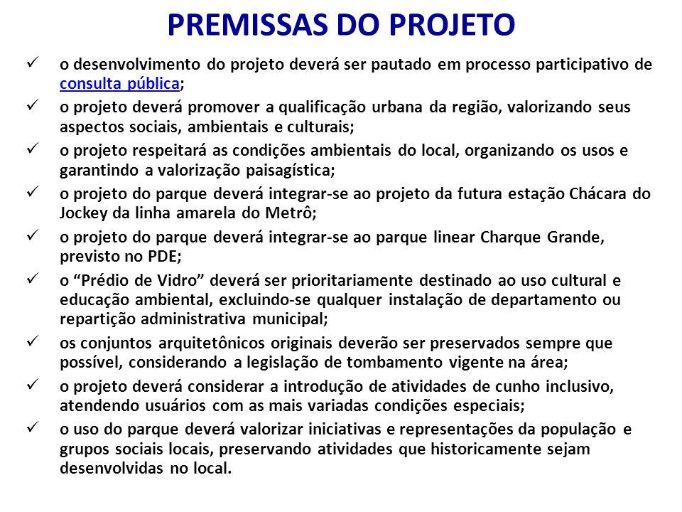 PREMISSAS DO PROJETO o desenvolvimento do projeto deverá ser pautado em processo participativo de consulta pública;