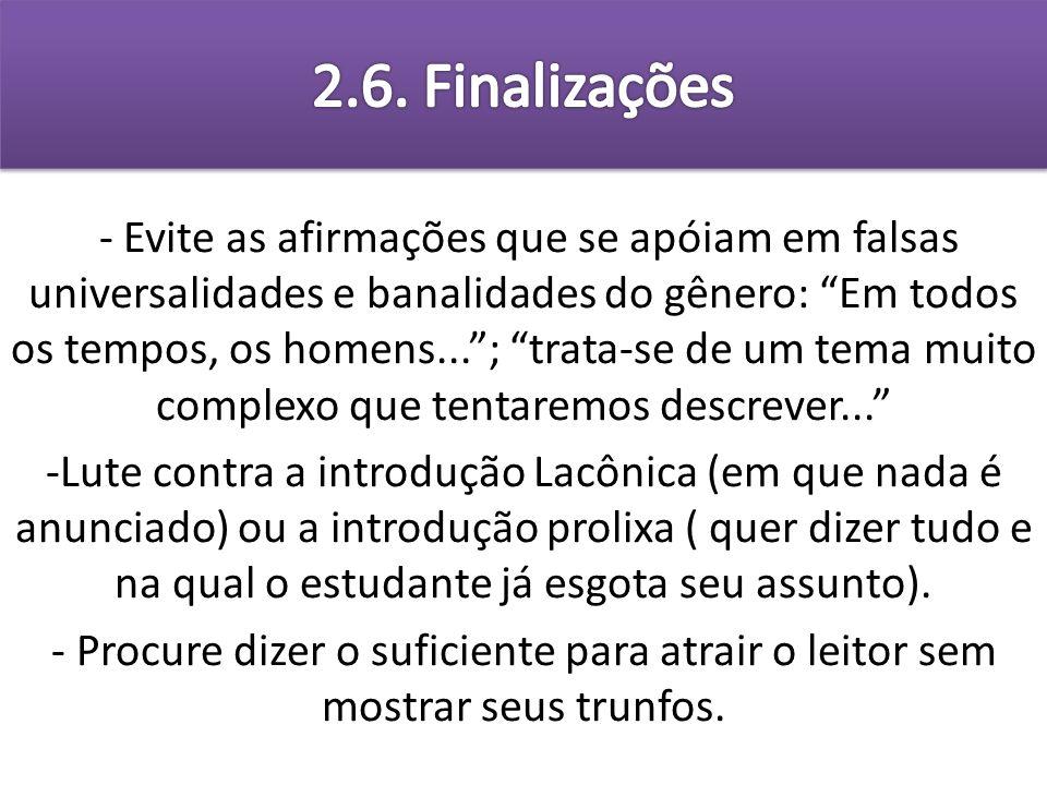 2.6. Finalizações