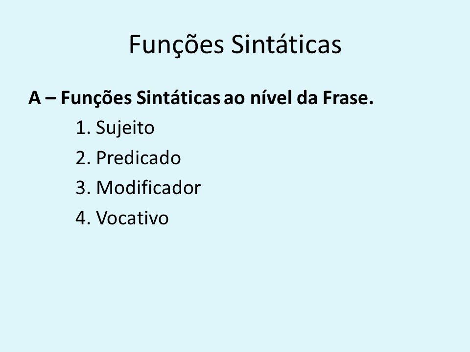 Funções Sintáticas A – Funções Sintáticas ao nível da Frase.