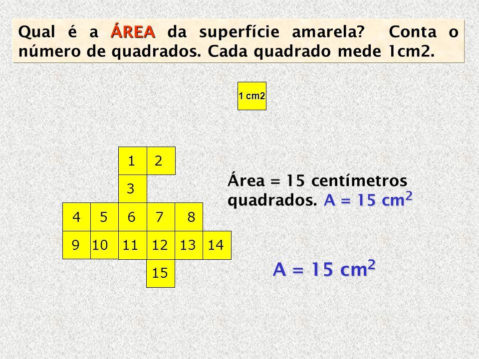 Qual é a ÁREA da superfície amarela. Conta o número de quadrados