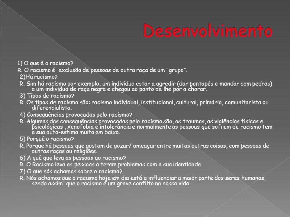Desenvolvimento 1) O que é o racismo
