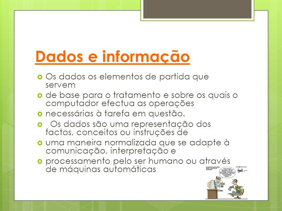 Dados e informação Os dados os elementos de partida que servem