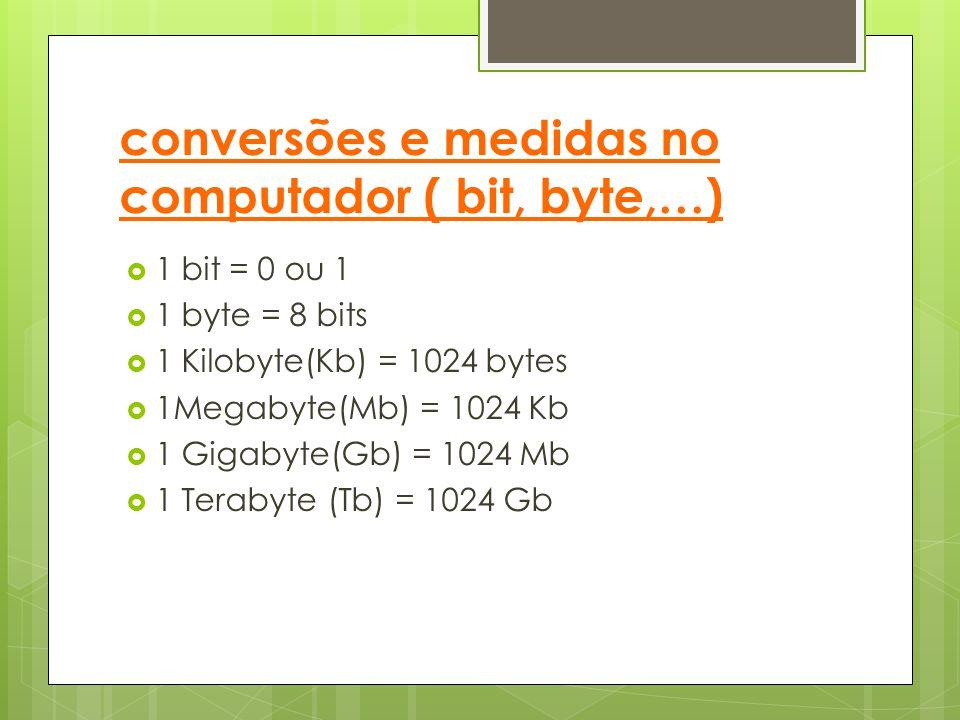 conversões e medidas no computador ( bit, byte,…)
