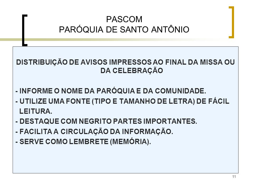 PASCOM PARÓQUIA DE SANTO ANTÔNIO