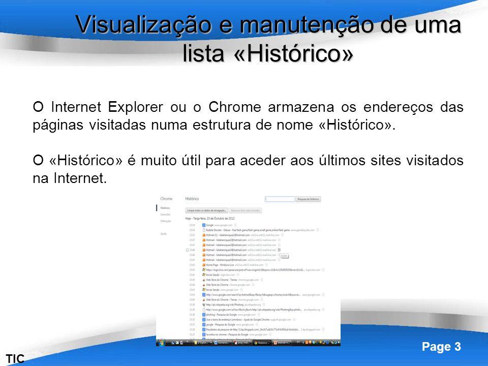 Visualização e manutenção de uma lista «Histórico»