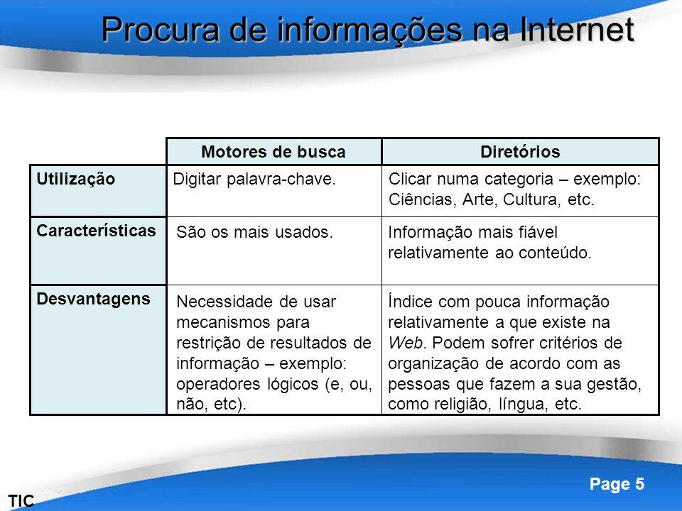 Procura de informações na Internet