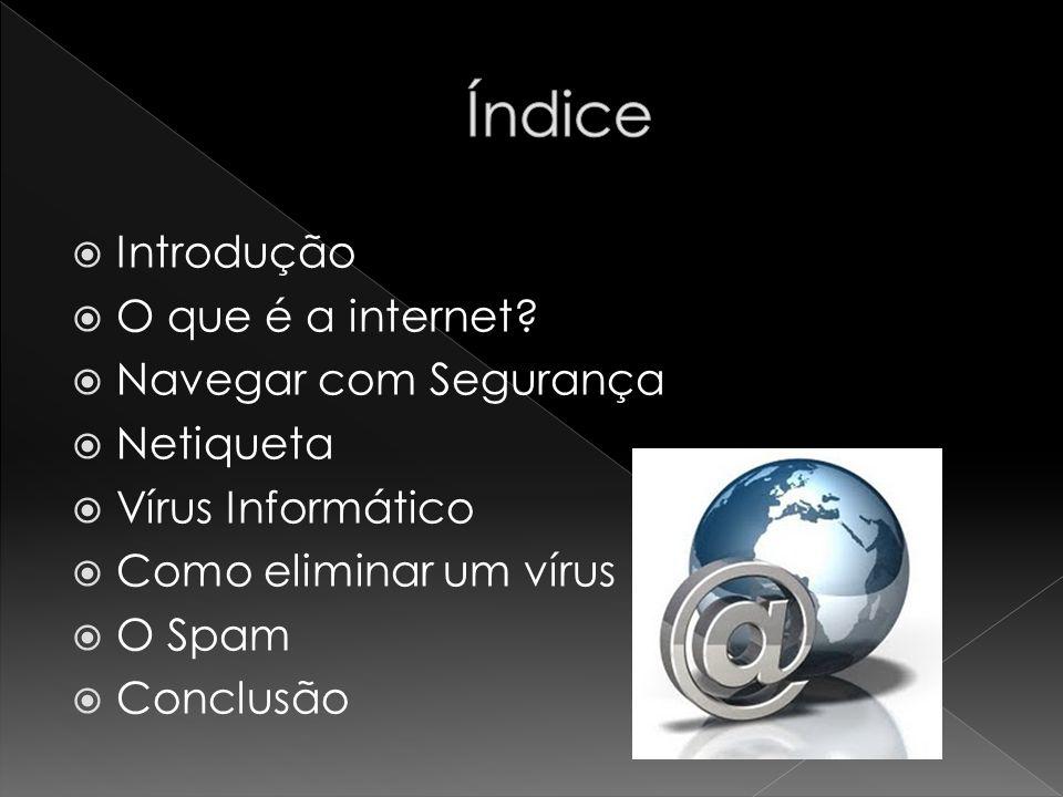 Índice Introdução O que é a internet Navegar com Segurança Netiqueta