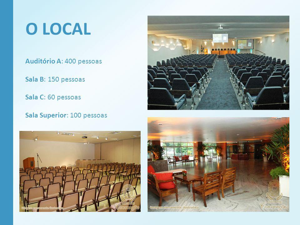 O LOCAL Auditório A: 400 pessoas Sala B: 150 pessoas