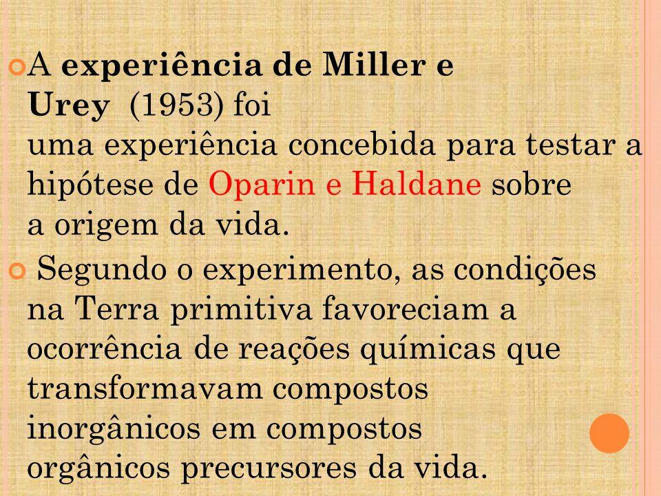 A experiência de Miller e Urey (1953) foi uma experiência concebida para testar a hipótese de Oparin e Haldane sobre a origem da vida.