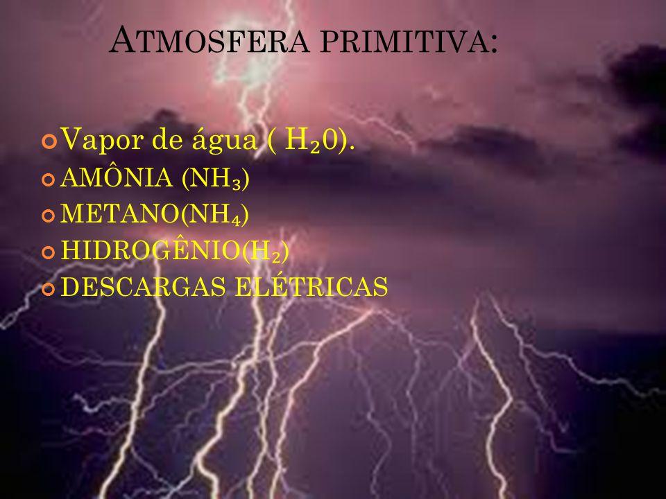 Atmosfera primitiva: Vapor de água ( H₂0). AMÔNIA (NH₃) METANO(NH₄)