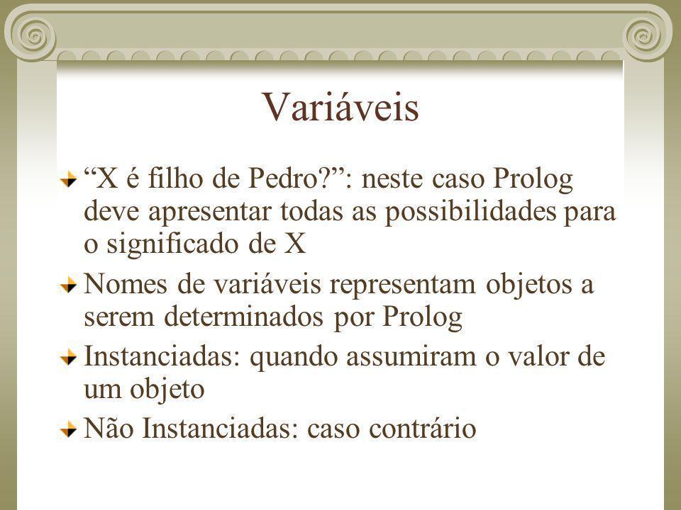 Variáveis X é filho de Pedro : neste caso Prolog deve apresentar todas as possibilidades para o significado de X.