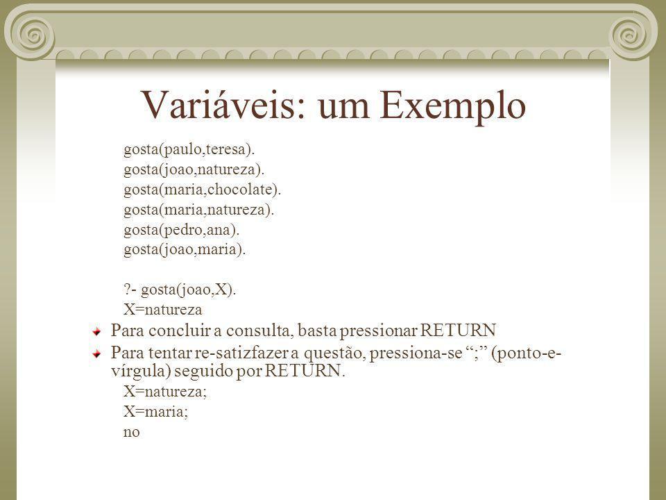 Variáveis: um Exemplo gosta(paulo,teresa). gosta(joao,natureza). gosta(maria,chocolate). gosta(maria,natureza).