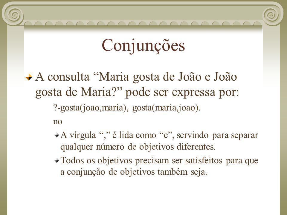 Conjunções A consulta Maria gosta de João e João gosta de Maria pode ser expressa por: -gosta(joao,maria), gosta(maria,joao).