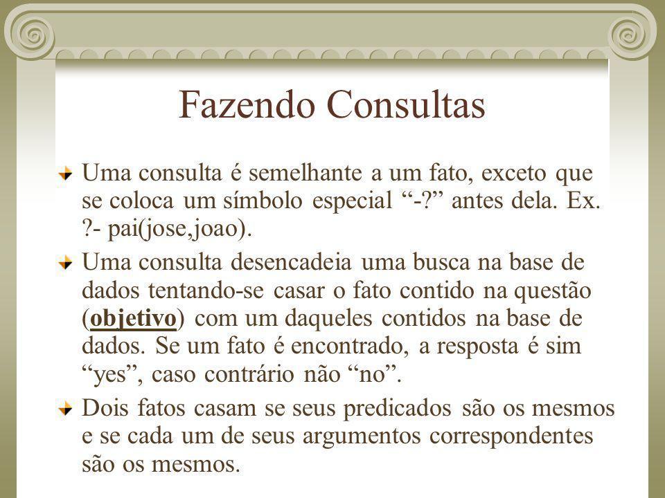 Fazendo Consultas Uma consulta é semelhante a um fato, exceto que se coloca um símbolo especial - antes dela. Ex. - pai(jose,joao).
