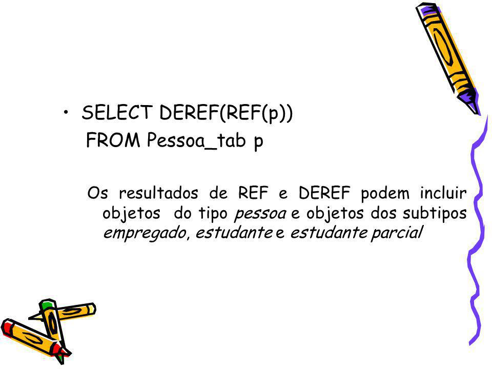 SELECT DEREF(REF(p)) FROM Pessoa_tab p