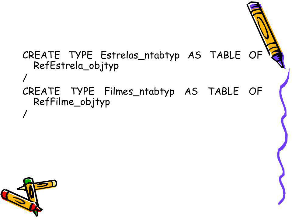 CREATE TYPE Estrelas_ntabtyp AS TABLE OF RefEstrela_objtyp