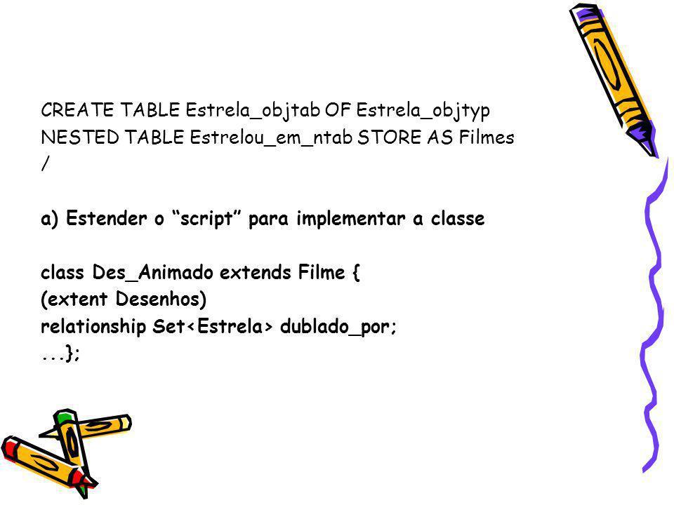 CREATE TABLE Estrela_objtab OF Estrela_objtyp