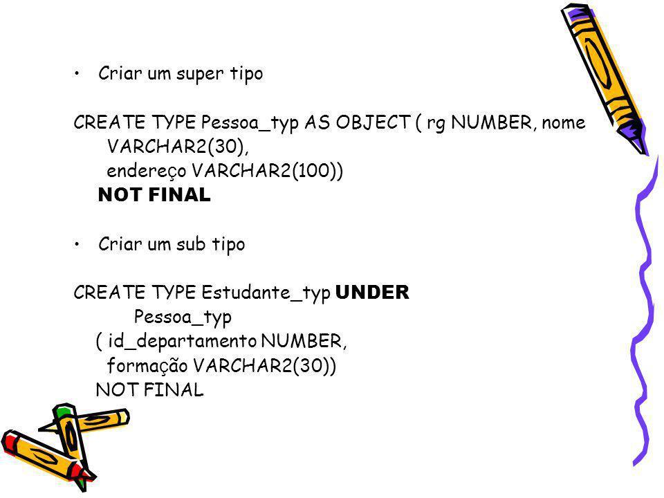 Criar um super tipo CREATE TYPE Pessoa_typ AS OBJECT ( rg NUMBER, nome. VARCHAR2(30), endereço VARCHAR2(100))