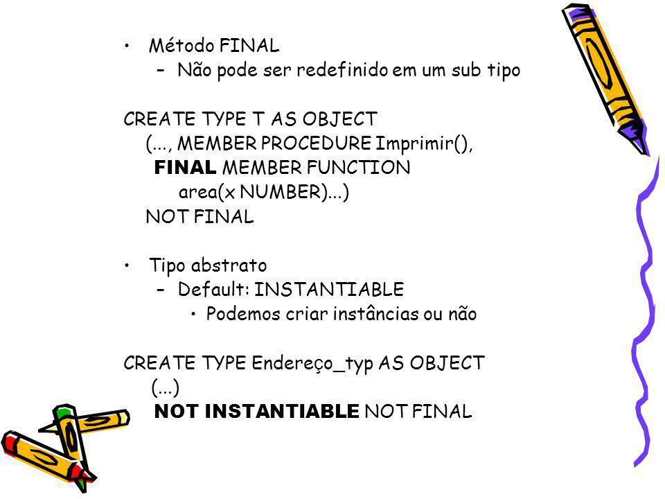 Método FINAL Não pode ser redefinido em um sub tipo