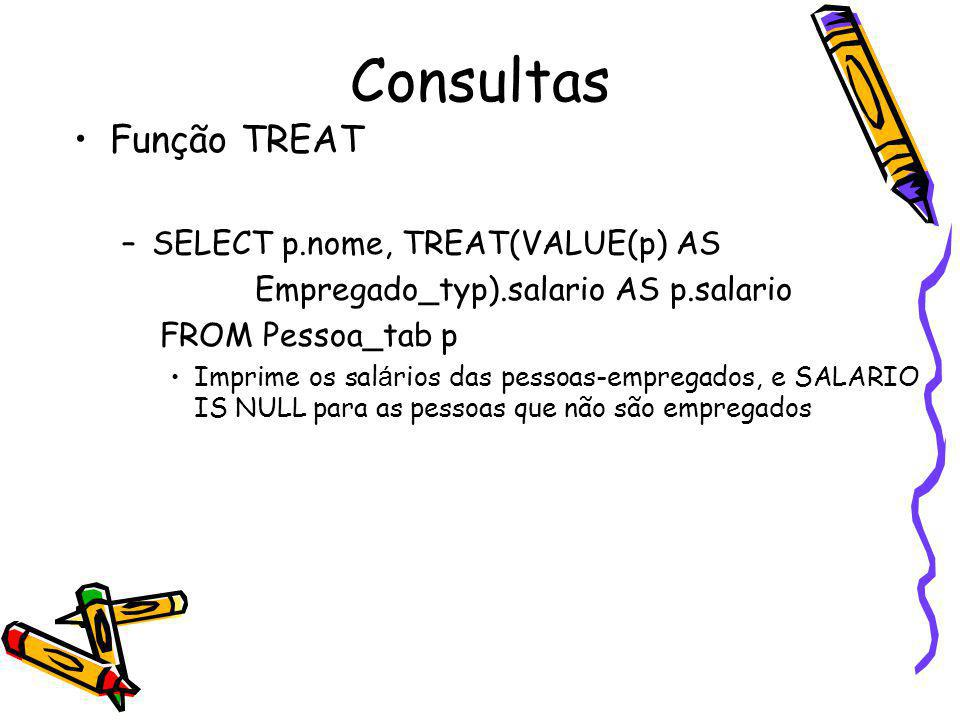 Consultas Função TREAT SELECT p.nome, TREAT(VALUE(p) AS