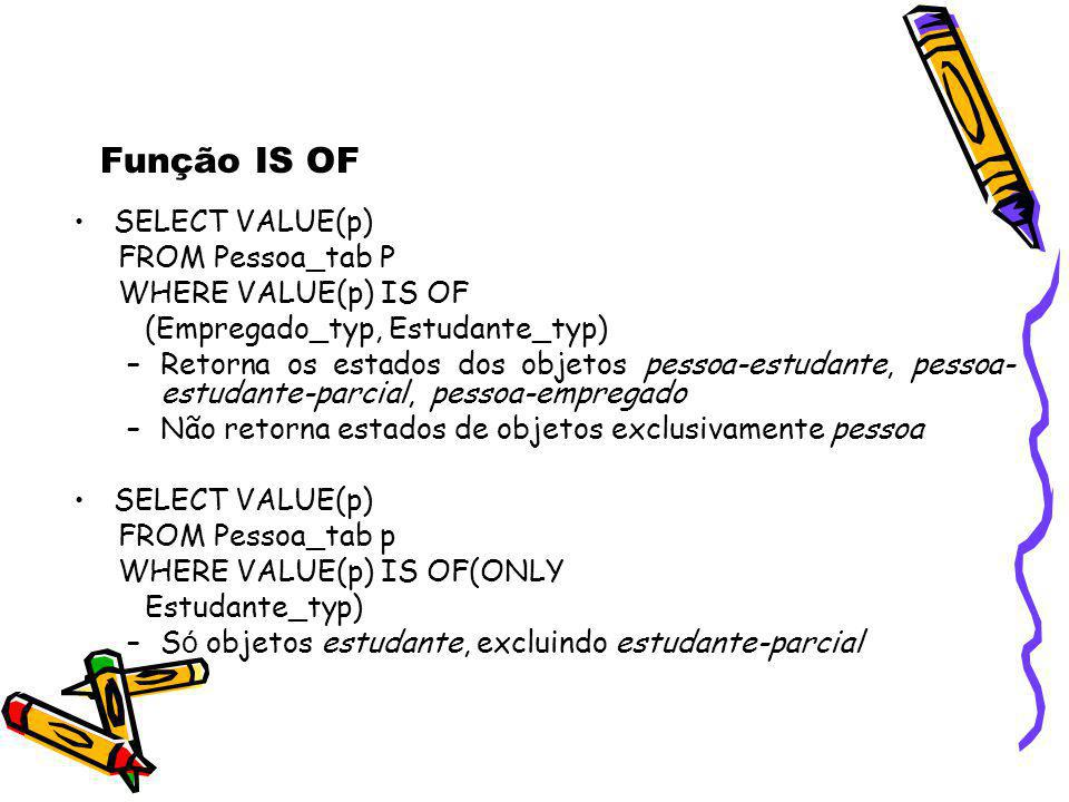 Função IS OF SELECT VALUE(p) FROM Pessoa_tab P WHERE VALUE(p) IS OF