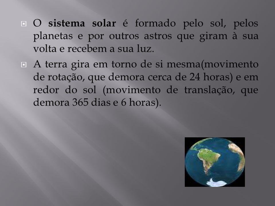 O sistema solar é formado pelo sol, pelos planetas e por outros astros que giram à sua volta e recebem a sua luz.