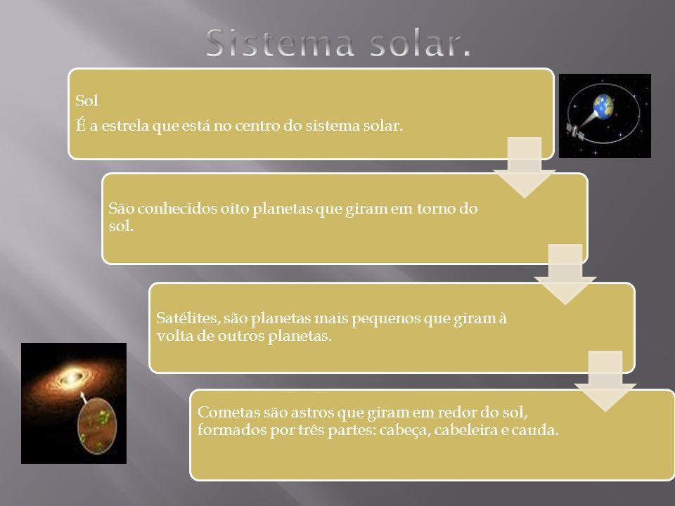 Sistema solar. Sol É a estrela que está no centro do sistema solar.