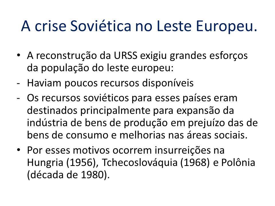 A crise Soviética no Leste Europeu.