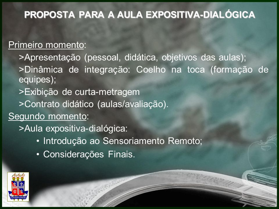 PROPOSTA PARA A AULA EXPOSITIVA-DIALÓGICA