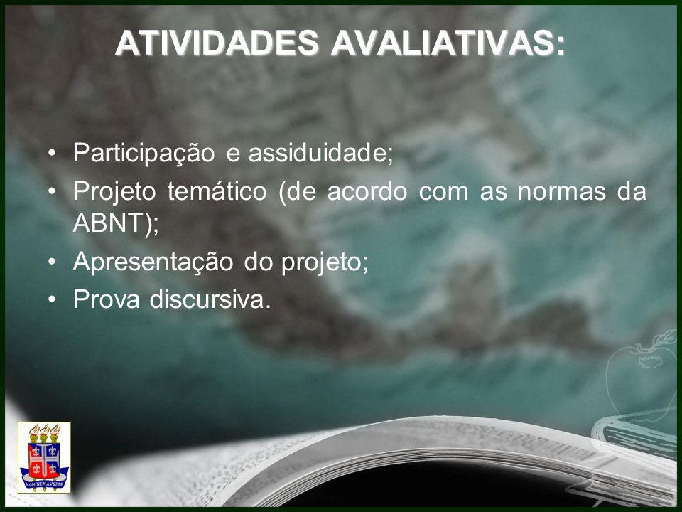 ATIVIDADES AVALIATIVAS: