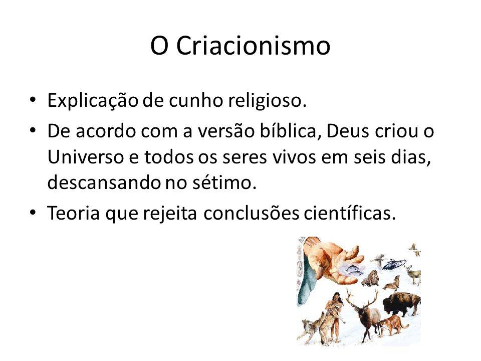 O Criacionismo Explicação de cunho religioso.