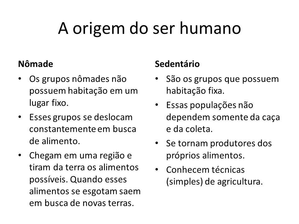 A origem do ser humano Nômade Sedentário