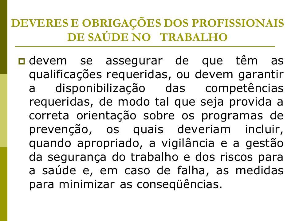 DEVERES E OBRIGAÇÕES DOS PROFISSIONAIS DE SAÚDE NO TRABALHO
