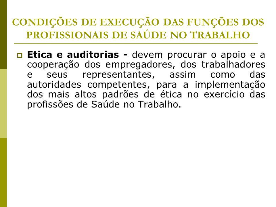 CONDIÇÕES DE EXECUÇÃO DAS FUNÇÕES DOS PROFISSIONAIS DE SAÚDE NO TRABALHO