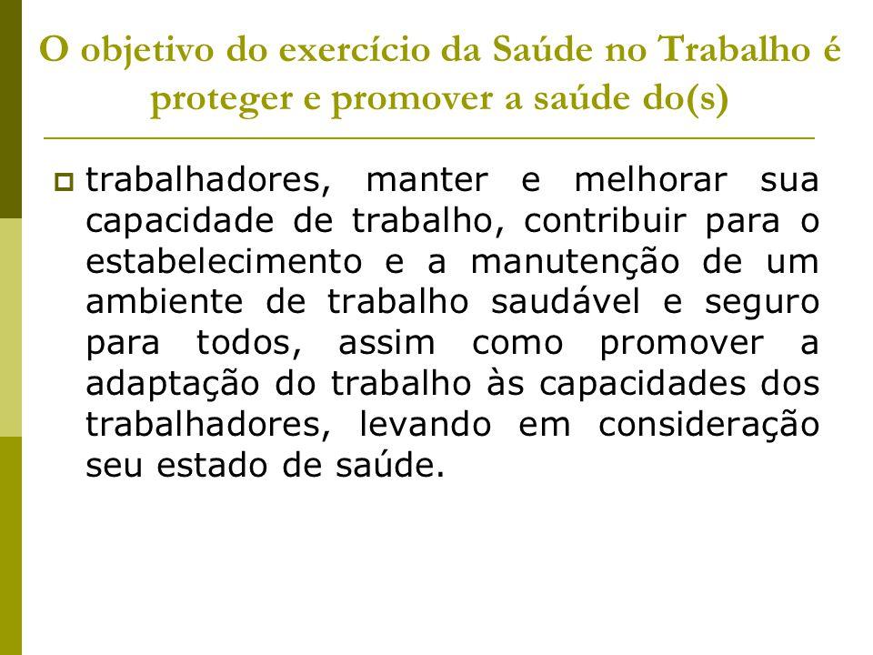 O objetivo do exercício da Saúde no Trabalho é proteger e promover a saúde do(s)