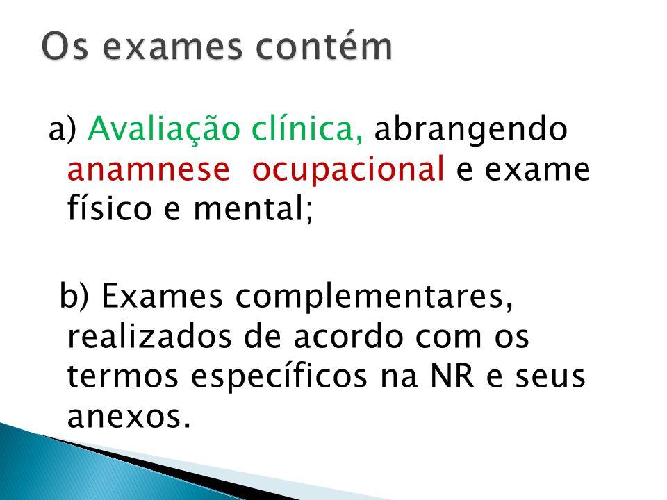 Os exames contém