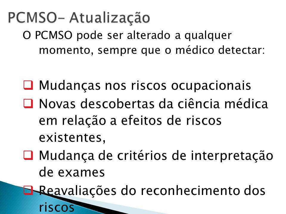PCMSO- Atualização Mudanças nos riscos ocupacionais
