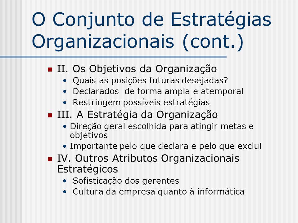 O Conjunto de Estratégias Organizacionais (cont.)