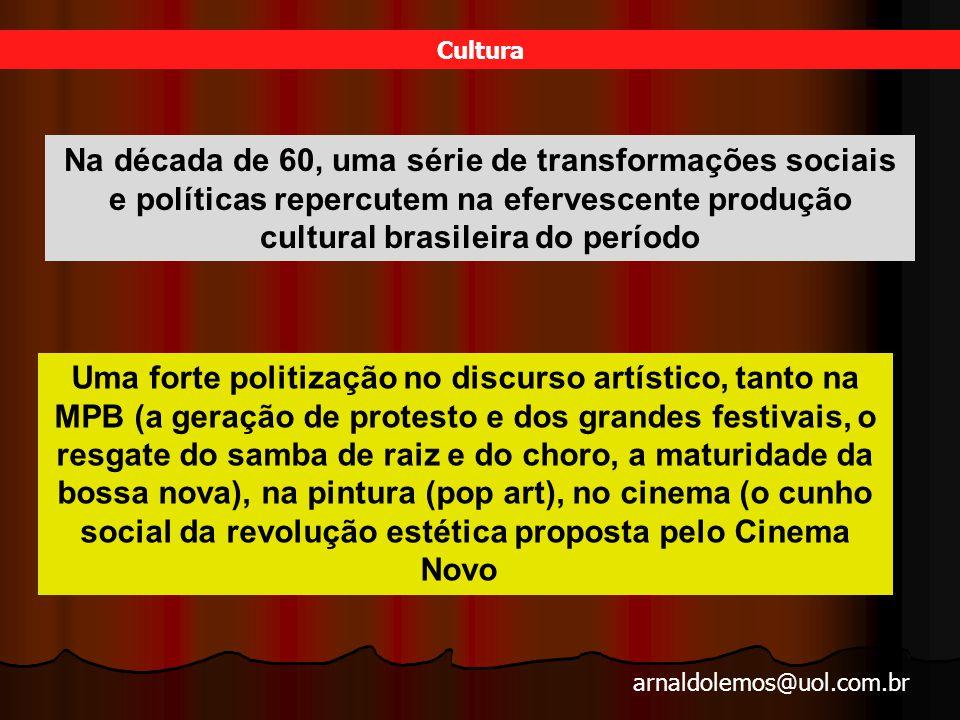 Cultura Na década de 60, uma série de transformações sociais e políticas repercutem na efervescente produção cultural brasileira do período.