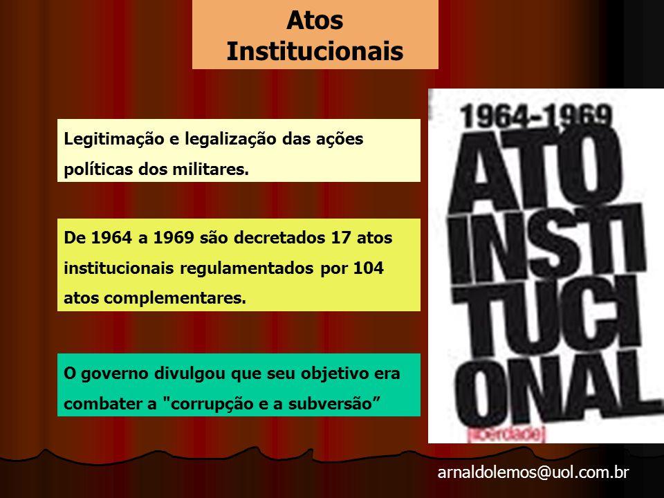 Atos Institucionais Legitimação e legalização das ações políticas dos militares.